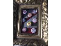 Sex Pistols & Vivienne Westwood punk badges in gilded ftame