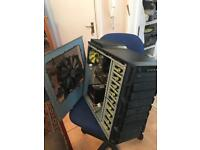Gaming PC with monitor,mouse, keyboard, headphone and cable