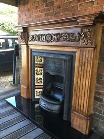 66c fireplace Victorian cast iron antique and oak surround FREE DELIVERY MOST UK