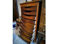 antique oak roller shutter locking tambour drawers
