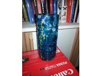 Mdina blue glass cylinder vase