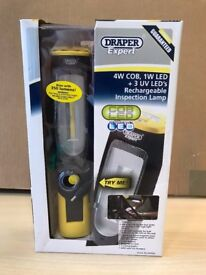 DRAPER 4W COB LED AND UV LED RECHARGEABLE MAGNET LAMP (Boxed New)