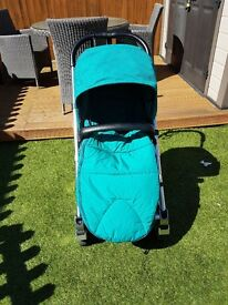 Mamas and papas urbo 2 in teal, comes with extra warm fleece cosy toes rain cover insect net