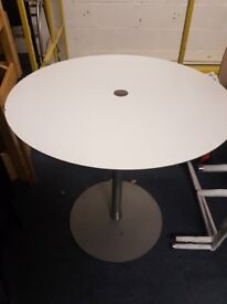 White wood effect cafe table with heavy base / small office meeting table