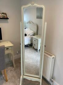 Free standing mirror, cream wood, French style