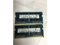 LAPTOP 8GB RAM 2 X 4GB 1600Mhz 204 PINS DDR-3 RAM( Hynix)