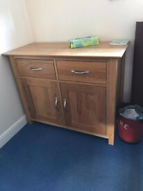 Solid Oak Small Sideboard - part of matching pair