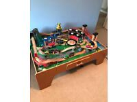 Wooden train table set