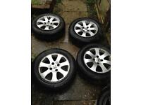 "15"" 4x108 PEUGEOT 307 207 206 308 SET OF 4 ALLOY WHEELS & TYRES Alloys195/65/R15"