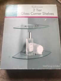 2 glass tier corner shelves