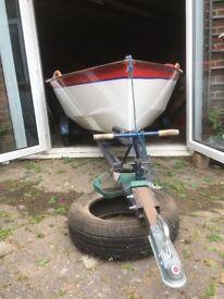 Sailing Dinghy, Dinghy Trailer and Launching Trolley. In Good Condition and Recently Painted