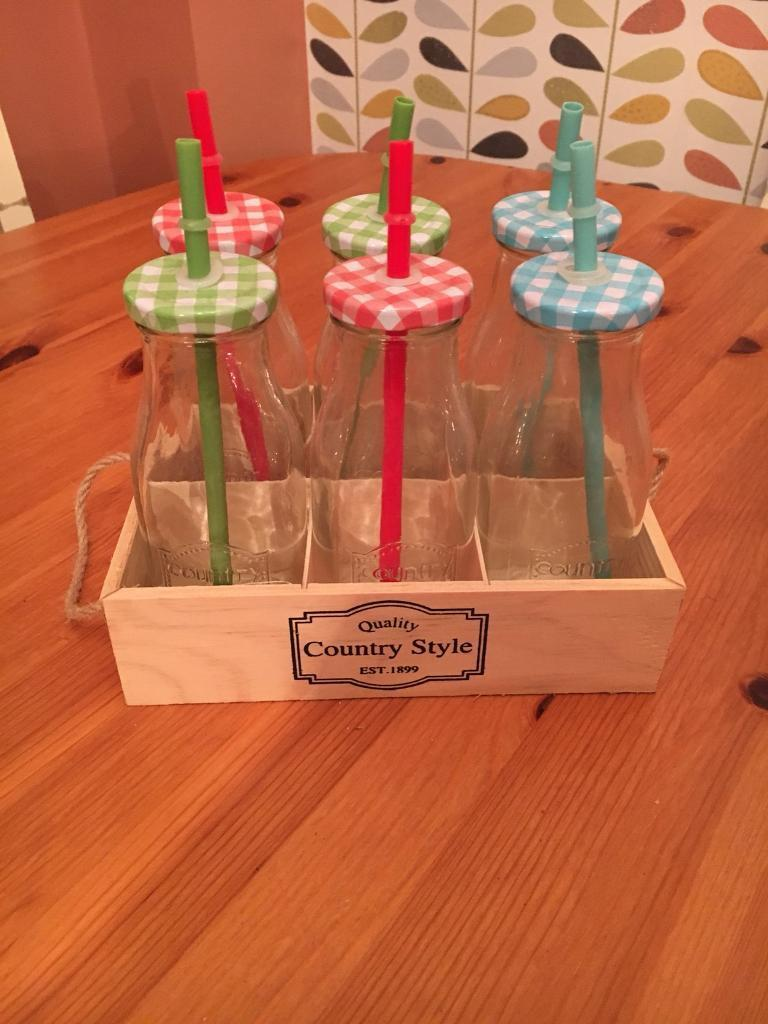 Country style Bottles with straws
