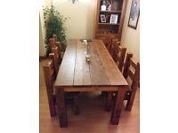 Handmade Chunky Rustic 6ft Dining Table Light Oak Finish 4ft 5ft 7ft 8ft