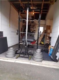 Marcy MWBECS Cage, Pully and Bench + Weights and Accessories.