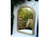 Matt Gold Tone Arch Top Wall Mirror