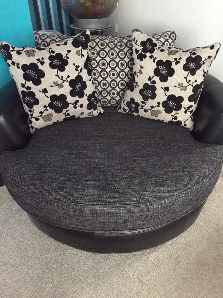 Sofa Pouffe Cotton Modular Sofa Pouffe In Slate Grey