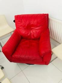 Red leather swing chair