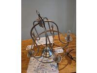 Two metal chandelier pendant lights