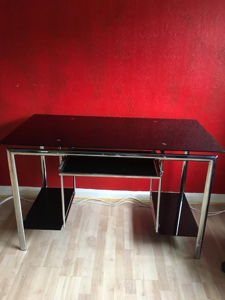 Stylish in chrome and black glass computer desk