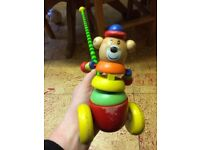 Wooden walk and push along toy bear walker