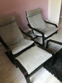 2 chairs and footstools