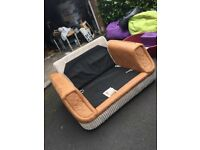 Tan and cream large love chair