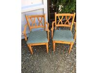 2 pine carver chairs