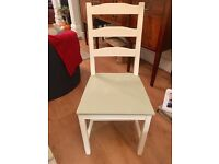 Four cream and sage green dinning chairs