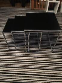 Black glass nest of 3 tables