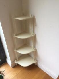 Corner stand for plants curios etc shabby chic wood chalk-painted off white 1x0.3m