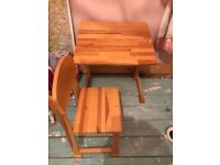 Childs Wooden Desk and Chair