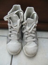 Next silver trainers with white laces size 2 which supports ankles, good condition