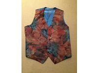 Vintage Abstract Patterned Silk Waistcoat (Medium)