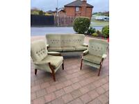 Retro 1980,s 3 seater sofa and 2 matching armchairs