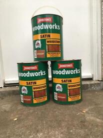 Wood stain paint. 3 x 5litre tins never used. Indoor or outdoor use.