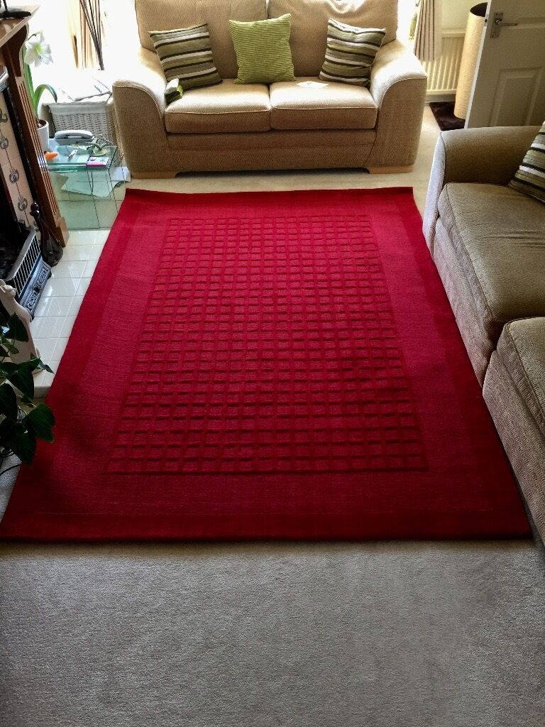 VERY LARGE RED RUG 100%WOOL