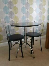 JOHN LEWIS BLACK GRANITE BISTRO SET - TABLE WITH 2 BLACK & CHROME MATCHING CHAIRS