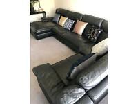 Black genuine leather 7 seater sofa