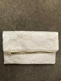 Lace ivory clutch bag brand new