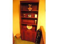 Mahogany finish tall bookcase