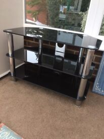 Black glass and metal TV stand, great condition £10