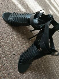 Black strap heels, size 5