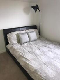 Leather Effect Dark Brown Double Bed Frame