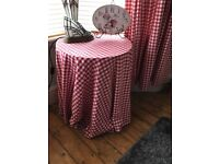 Laura Ashley Gingham Red and White curtains and table cloth to match