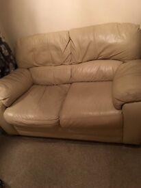 Two Settee Cream Leather Sofa