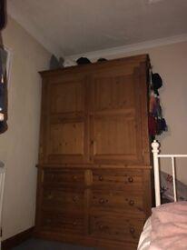 2 door, 6 draw wooden wardrobe