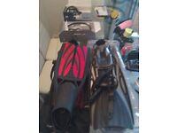 Aqua lung sling shot and scuba pro twin jet max split fins.