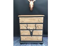 Solid Pine Painted Chest of Drawers.