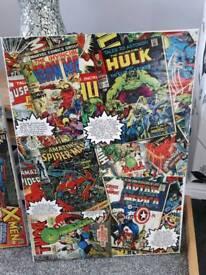 2 x Handmade Superhero canvas