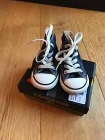 Navy high top Converse in box infant size 6